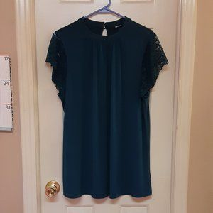 Torrid Hunter Green Top With Lace Sleeves